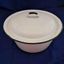 Vintage White Enamel Cookware Dutch Oven Black Trim