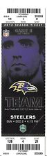 PITTSBURGH STEELERS @ BALTIMORE RAVENS 2012 NFL GAME TICKET, FLACCO