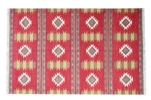 Red Color Turkish Wool Rug Kilim Dhurrie Handmade rug Mat Home Decor rug 5'x8'