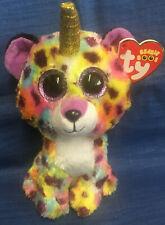 Ty Beanie Babys Neu Dotty Leopard bunt Regenbogen Ty Beanie Boos Glubschi 15cm Neu mit Etikett