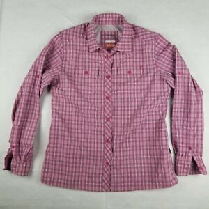 Cabela's Womens Pink Plaid Vented Fishing Shirt Long Sleeve Size L Insect Def.