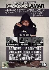 "KENDRICK LAMAR ""GOOD KID MAAD CITY WORLD TOUR"" 2013 CONCERT POSTER- Hip Hop, Rap"