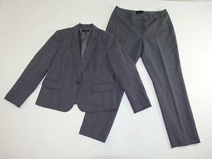 Talbots Women's 1 Button Blazer Pant Suit Size 14 Gray Wool Blend Flat Front EUC