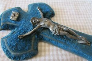 Beautiful Antique French Azure Blue Velvet Conch Shell Holy Water Font c1890