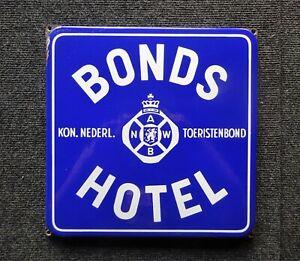 Bonds Hotel Niederlande altes Emailschild um 1960