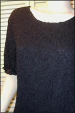 "Black Pucker Lace Knit Top (L) Scoop Neck - Short Sleeve 36"" - 40"" bust"