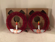 2 VTG GOODLITE RED CELLOPHANE LIGHT UP CANDLE CHRISTMAS WINDOW WALL WREATH BOX