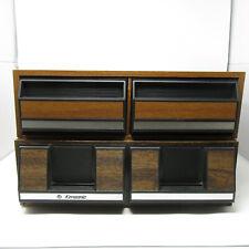 Two Vintage Wood Grain VHS Storage 24 VCR VHS Tape Holder Slide Plastic Drawers