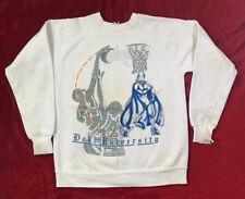 Vintage 80's Duke University Blue Devils Basketball White Sweatshirt Small