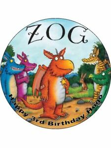 7.5 inch ZOG EDIBLE ICING BIRTHDAY CAKE TOPPER