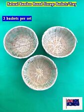 Set of 3 Natural Bamboo Round Cane Storage Baskets Tray - Toys Parts (B50) NEW