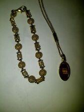 Dyrberg/Kern 18-in Gold-tone Necklace w/ Tigers Eye Pendant & 7 1/2-in Bracelet
