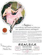 Roy Best Real Silk Pink Lingerie STOCKINGS HOSIERY Brunette Flapper '26 Print Ad
