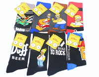 8 Styles New Fashion Men's Cotton Socks Warm Simpsons Cartoon Casual Dress Socks