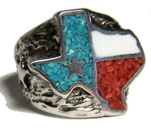 LARGE TEXAS STATE LONE STAR Silver BIKER RING BR84R mens jewelry RINGS HEAVY new