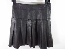 Etcetera PLEATED DK. BROWN/BLACK leather MINI skirt size 0