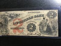 1858  $2 LITCHFIELD BANK CONNECTICUT SCARCE OBSOLETE NOTE