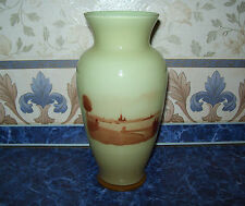 "Very Rare Vintage USSR 50s BIG VASE OF DOUBLE-LAYER GLASS ""LENINGRAD EMBANKMENT"""