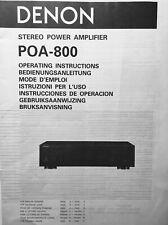 DENON POA - 800 Stéréo Power Amplifier. 19 pages