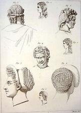 Encyclopédie Méthodique Antiquités Mythologie Coiffures des Grecs 1786
