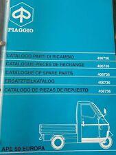 406736 PIAGGIO APE 50 EUROPA CATALOGO PARTI RICAMBIO BROCHURE DEPLIANT KATALOG