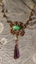 Art Nouveau Enameled Flowers Vintage Glass Necklace Set