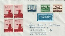 Netherlands Airmail to Switserland stamps polder, windmill 1953