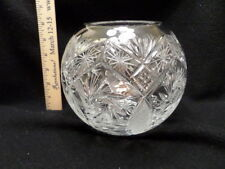 Clear Heavy Lead Crystal Large Rose Bowl Vase Pinwheel Fan Star Design - Lovely