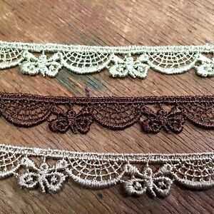 """Lace Butterfly 3/8"""" Venis Scallop Rayon Trim 1yd Made in France"""