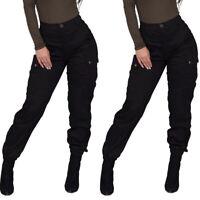 Frauen Hohe Taille Lange Hosen Damen Lässig Freizeithose Cargohose Mit Taschen
