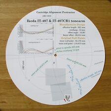 Ikeda IT-407 & IT-407 CR1 Custom Designed Tonearm Cartridge Alignment Protractor