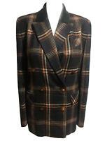 IRISH Vtg 80s/90s Women's UK 12 Tailored Blazer Jacket Plaid Check Brown Wool