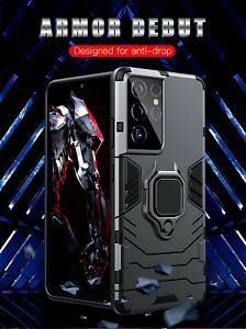 New Heavy duty Armor Shockproof Magnet Metal Ring Case Cover For Mobile Phone