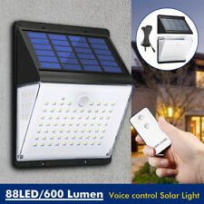 88LED Waterproof Solar Powered Wall Light PIR Motion Sensor Voice+Remote  a1z