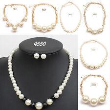 Luxury Women Wedding Bridal Pearl Necklace Earrings Set Gold Chain Jewelry Hot