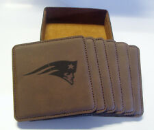 NEW ENGLAND PATRIOTS SET OF SIX LEATHER ENGRAVED COASTERS IN LEATHER CASE