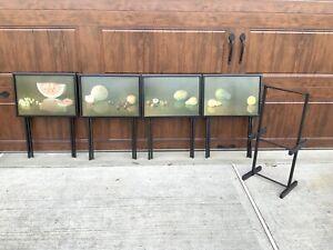 Artex 4 Mid Century Black Folding Tray Tables TV Trays Fruit Still Life + Stand
