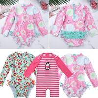 Baby Girls Boys Rash Guard Swimwear UV 50 Long Sleeve Swimsuit Swimming Costume
