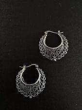 Earrings Big Hoop Silver Hippie Boho Spikes Tribal Gypsy Bohemian A1053