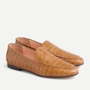 J. CREW Women's Cecile Smoking Slippers Sz 8.5 NWOB Flats Loafers Leather Croc