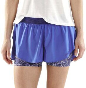 Skins DNAmic Superpose 2 In 1 Womens Running Shorts Blue Twin Run Short