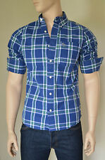 NEW Abercrombie & Fitch Blake Peak Shirt Navy Green Plaid Check L RRP £82