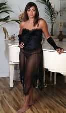 (M) Sexy Lingerie see through Black Long Gown + Black Panty + Stripper Sleeves M