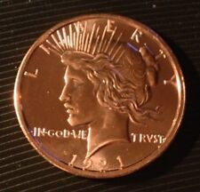1 OZ COPPER ROUND 1921 PEACE DOLLAR OBVERSE & REVERSE DESIGN