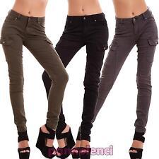 Jeans donna pantaloni cargo tasconi skinny aderenti elasticizzati nuovi EY02