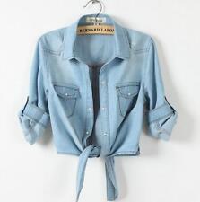 Summer ladies 3/4 Sleeve Denim Jeans Beach Cardigan denim Short Jacket Shirt