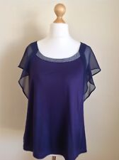 Nougat London Womans Navy Blue Top With Silver Detailing. Size 14.