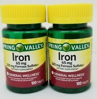 Spring Valley Iron 65mg & Ferrous Sulfate 325mg 100 Tablets (2 Pack) 01/21+