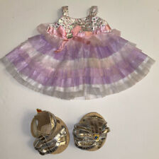 Build A Bear Ruffle Dress With Sequin Bodice Silver Gold Metallic Sandals