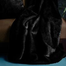 BLACK - Extra Large Faux Mink Fur Winter Sofa Lounge Bed Throw Blanket Rug